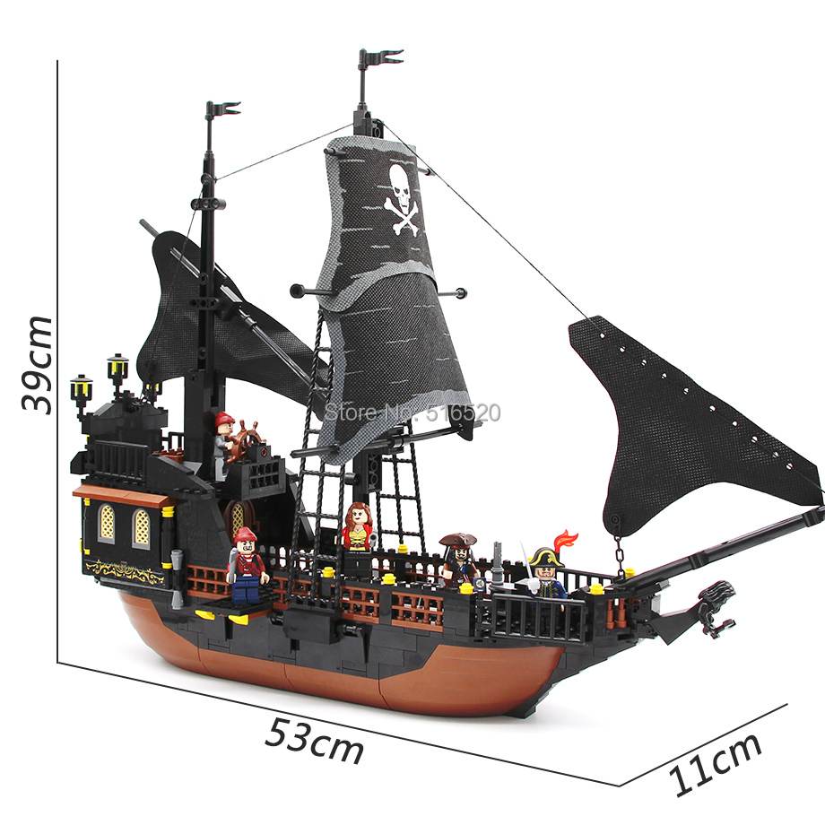 GUDI Jack Captains Boat Black Pearl Building Block 652pcs Bricks Pirates of Caribbean Toys For Children Compatible Legoingly