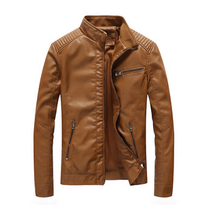 Image 4 - 2020 Spring PU Leather Jacket Men Solid Casual Faux Leather Coat Slim Fit Motorcycle Leather Jacket Outwear
