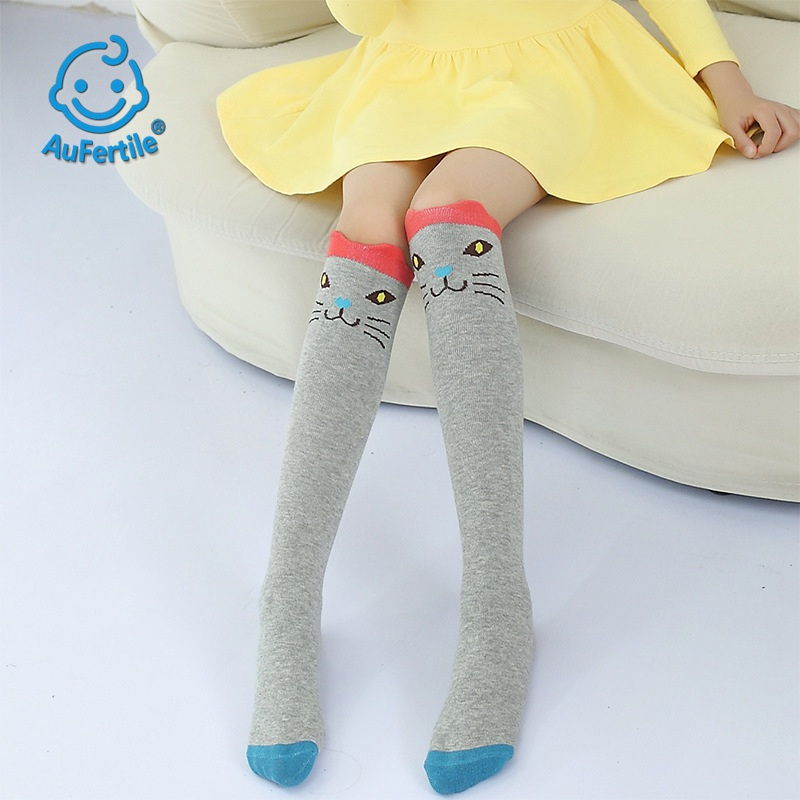 Cute Long Tube Children Socks Spring and Autumn Cartoon Animal face Girls Straight Socks Lovely with Skirt Cotton Socks