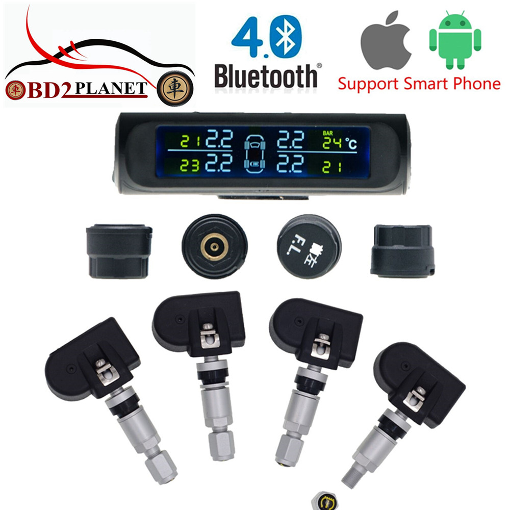 First Solar Power Bluetooth TPMS Tire Pressure Monitoring System with LCD Display and Phone App Monitoring 4 Sensors