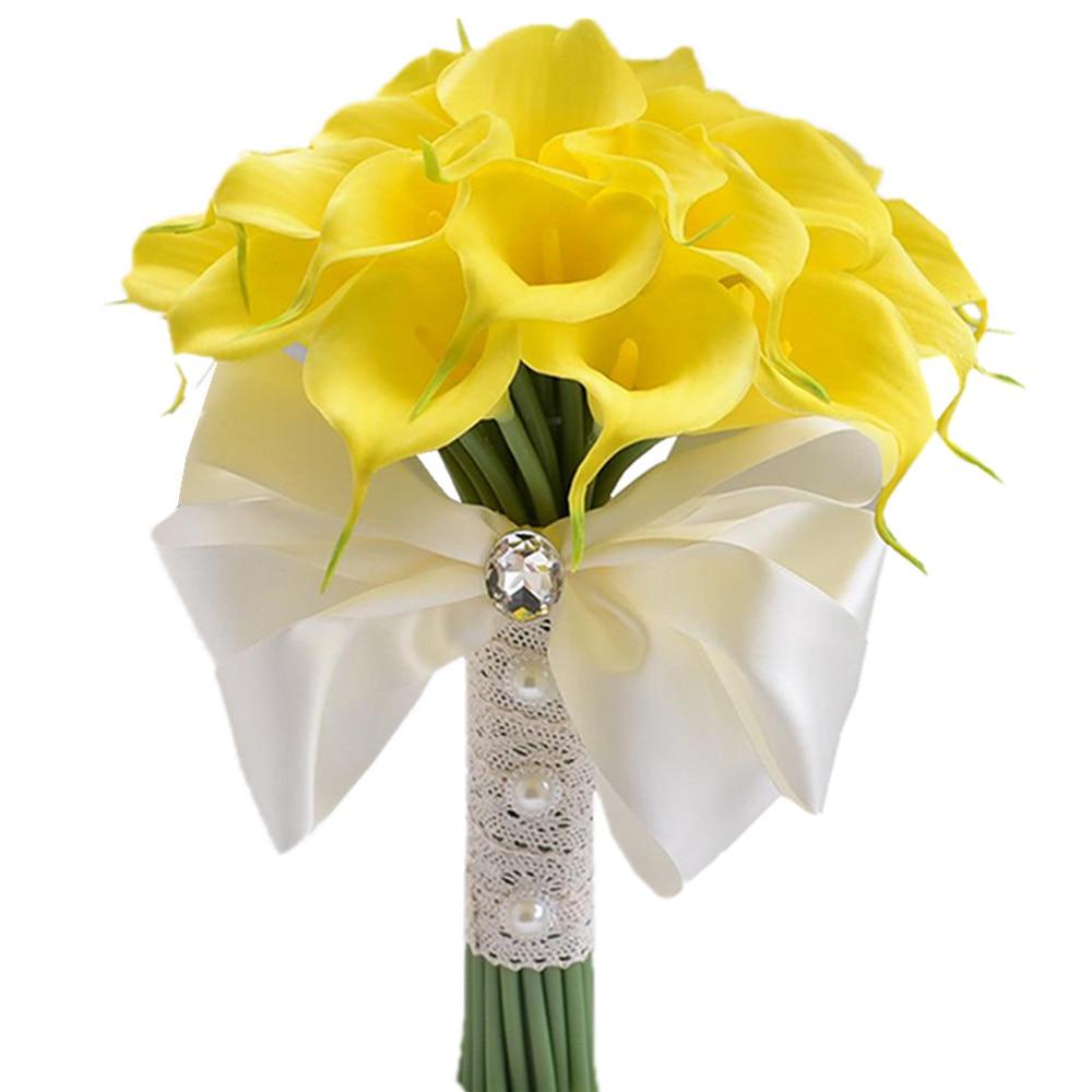 Romantic Artificial White Yellow Calla Lily Flower Bouquet For Bride