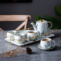 Nordic style Marble ceramics Tea set coffee milk teapot Cup and saucer set tray living room dining table Home Decorations