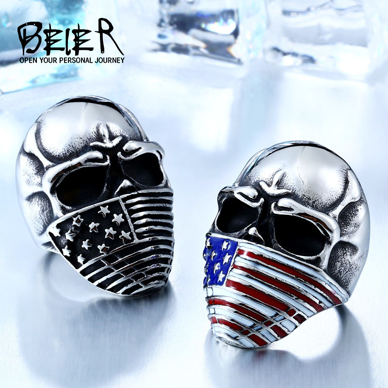 BEIER American Flag Stainless Steel Skull Ring Untuk Man Personaliti Biker Jewelry Wholesale Factory Price BR8-283
