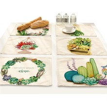Cactus Succulent Plants Flower Pot Print Cloth mat Placemat Dining Green Leaf Fabric Table Coasters Kitchen Home tablecloth