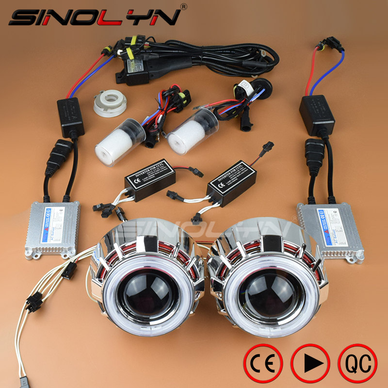 Sinolyn Car Styling 35W HID Bixenon Projector Lens Headlight Double Angel Eyes Halo Xenon Headlamp Lenses Retrofit Kit H1 H4 H7 lhd 35w 2 8 inch hid bixenon headlight headlamp projector lens full retrofit kit car angle eye halo h7 h4 ballast xenon bulb