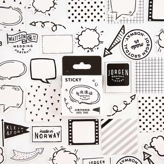Black white Dialog Bullet Journal Decorative Stationery mini Stickers set Scrapbooking DIY Diary Album Stick Lable