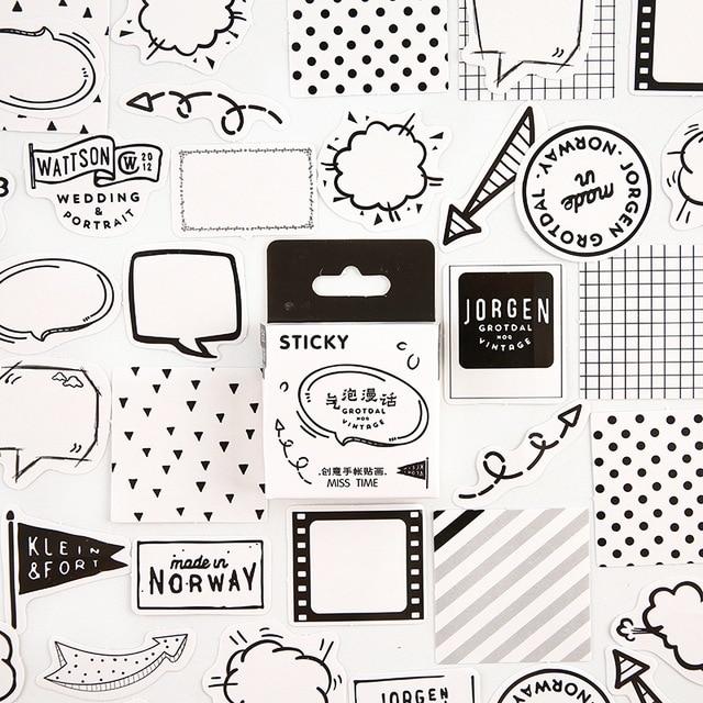 Black White Dialog Bullet Journal Decorative Stationery Mini Stickers Set Scrapbooking DIY Diary Album Stick Lable