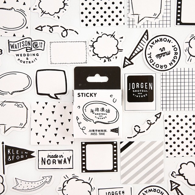 Black white Dialog Decorative Stationery mini Stickers set Scrapbooking DIY Diary Album Stick Lable