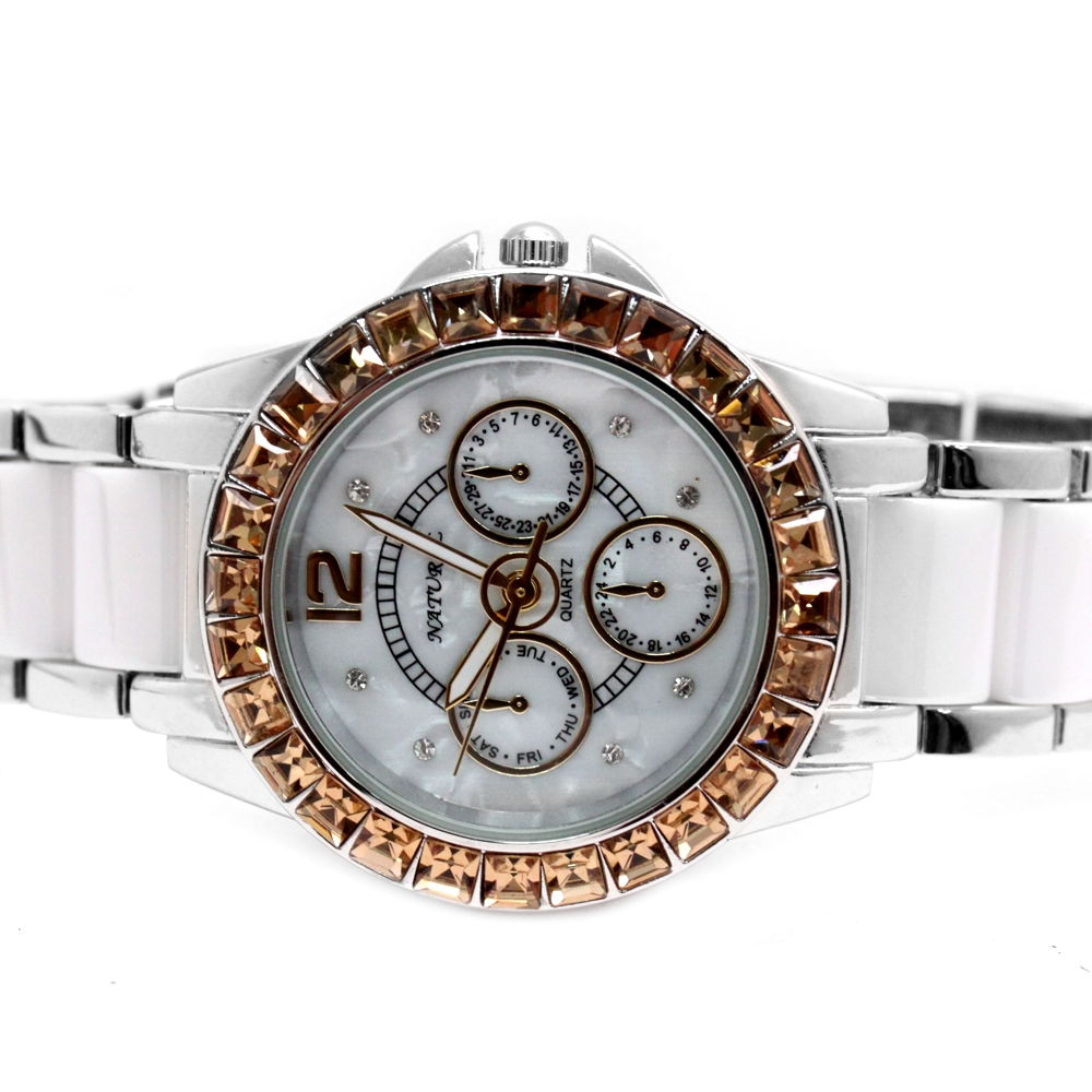 FW830U Water Resist White Dial Ladies Women Ceramic Topaz Crystal Bracelet Watch