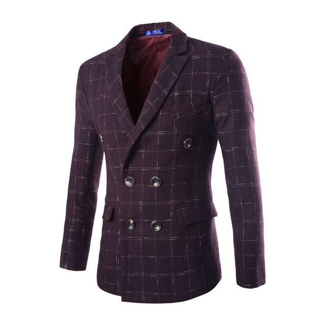 2017 Hot Sale high-end fashion Men's wool plaid double-breasted suits jacket  Men's Slim   Fit Casual suits jackets coat