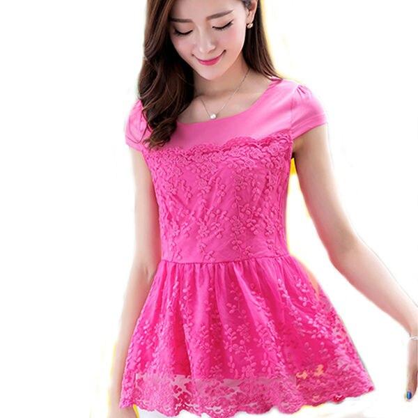 Blusa peplum rosa de encaje blanco blusas para mujer