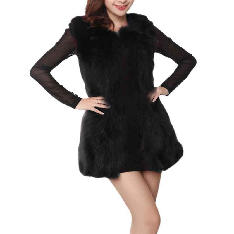 Длинные черный, белый цвет меховые жилеты Для женщин топы; пальто с искусственным мехом плюс Размеры без рукавов жилет кардиган осень 2018 зимние пальто для Для женщин F3