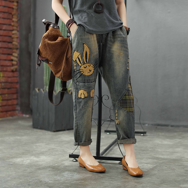 Women Spring And Autumn Fashion Vintage Rabbit Embroidery Patchwork Frayed   Jeans   Pants Female Casual Denim Loose Harem Pants