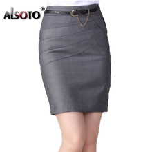 ALSOTO Formal Style Women Skirt Plus Size High Waist Slim Pencil Skirts Open Fork Sexy Package Hip Office Lady Faldas Female
