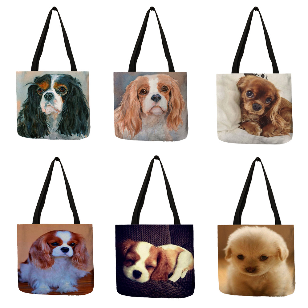 Unique Fashion Charles Spaniel Dog Print Tote Bag Handbags For Women Lady Shoulder Bag Durable Shopping Bags Large Capacity