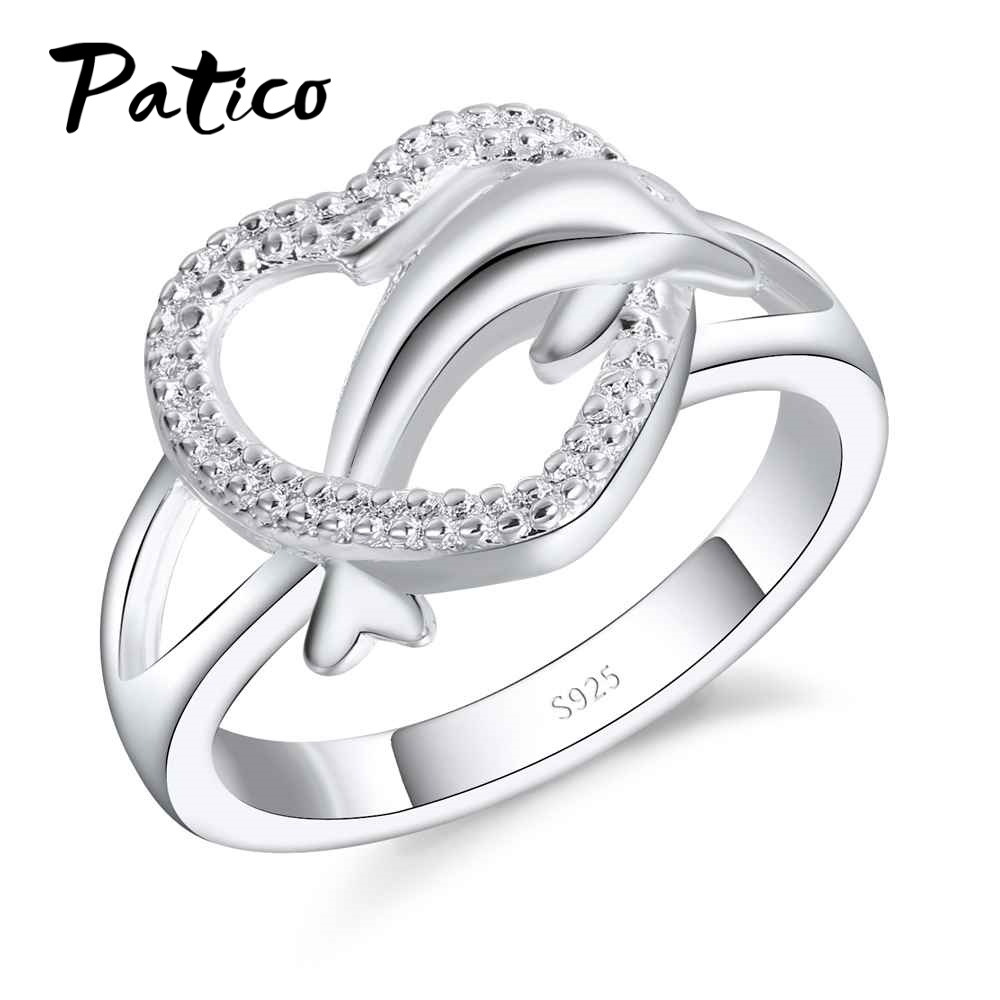 PATICO Fashion Women Rings Charm Heart 925 Sterling Silver Wedding Jewelry For Female Animal Dolphin Lovers Bague Wholesale