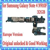 유럽 버전 삼성 note 4 n910f 마더 보드 32 gb 메인 보드 칩 imei 100% 좋은 작업 로직 보드  원래 잠금 해제