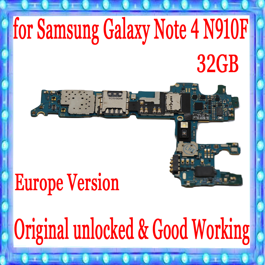 Europe Version For Samsung Note 4 N910F Motherboard 32GB Mainboard With Chips IMEI 100% Good working logic board,Original unlockEurope Version For Samsung Note 4 N910F Motherboard 32GB Mainboard With Chips IMEI 100% Good working logic board,Original unlock