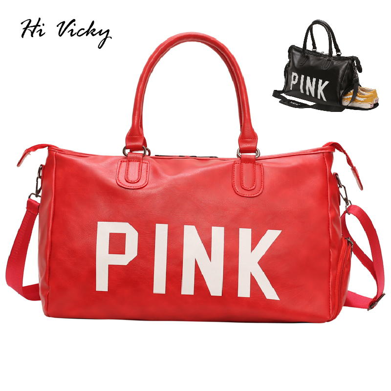 2019 Lady Black Travel Bag Red Pu Leather Shoulder Bags Big Large Women Waterproof Handbag Weekend Portable Tote Bolsas Feminina