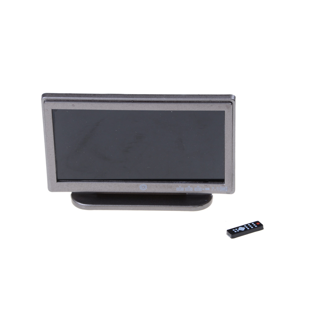 Dollhouse Miniature Wide Screen Television Flat-Panel LCD TV Remote Gray Classic Pretend Play Toys For Child