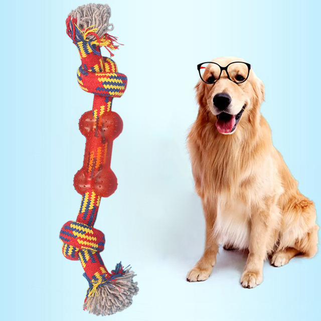 Dog Toy Puppies Chew Tooth Cleaning silicon Cotton Rope with Handle Knot  Bite Resistant Ball Teeth