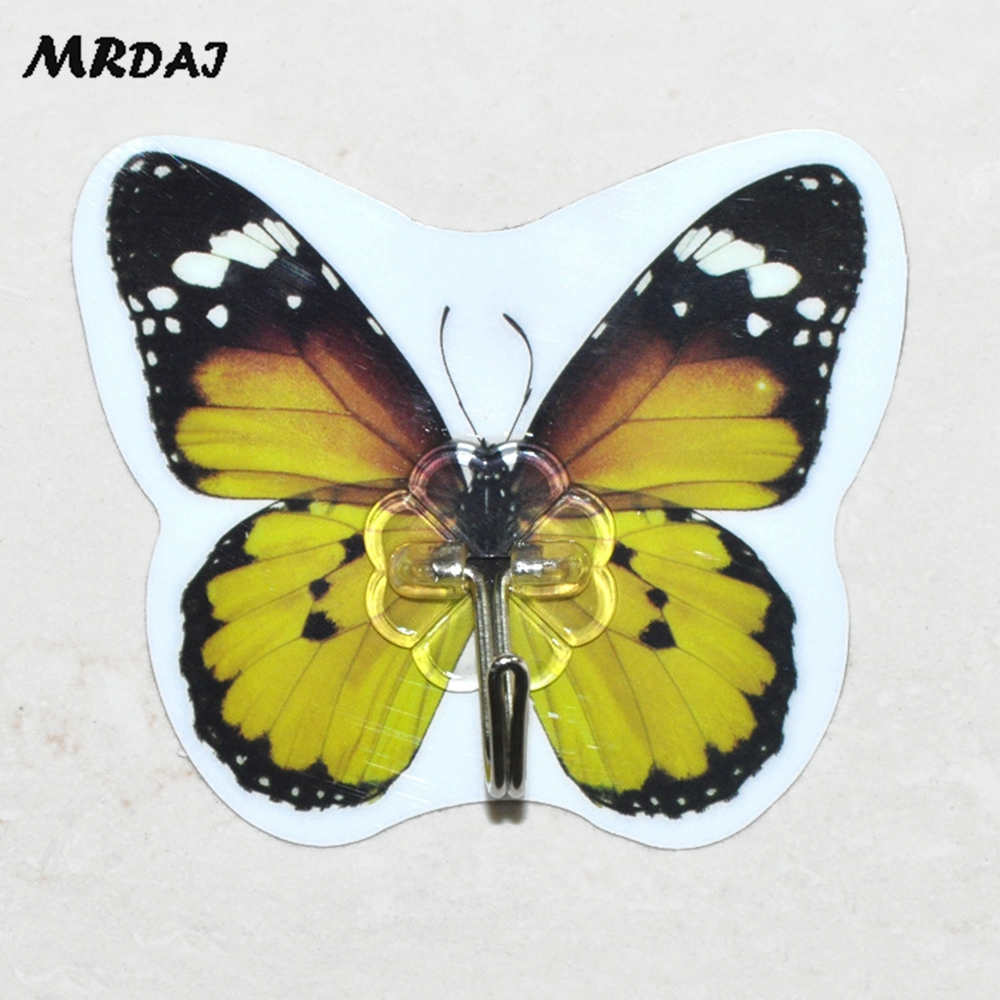 2pcs/lot Butterfly Magic Free Adhesive Nail Hook Seamless Hanger ...