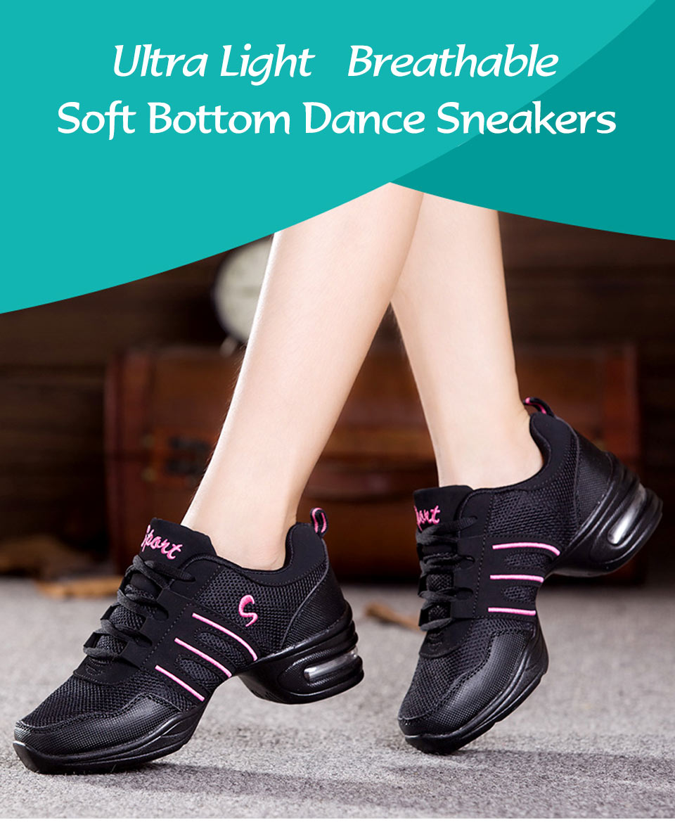Dancing Shoes For Women Sports Feature Modern Dance Jazz Shoes Soft Outsole Breath Dance Shoes Female Waltz Sneakers Wholesale