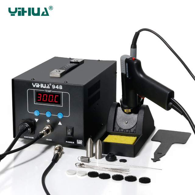YIHUA948 Digital SMD Soldering Station High Quality Soldering Iron With Suction Tin Gun Handle Rework Station 220V 110V fx951 digital thermostatic soldering station tools set fx2028 soldering iron handle 110v 220v