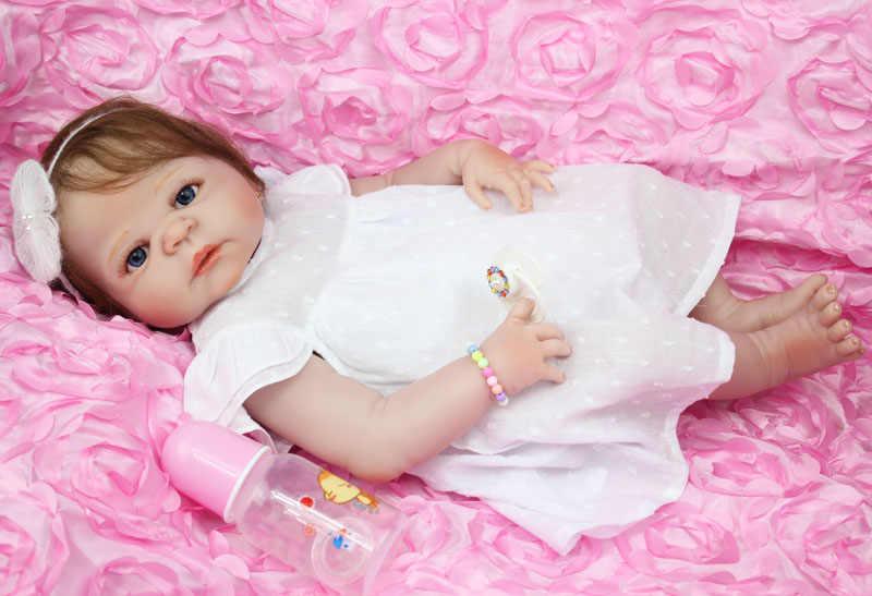 """55 см полное тело силикона для новорожденных, для девочек куклы игрушки как настоящий 22 дюймов Новорожденные принцесса кукла """"малыш"""" подарок на день рождения игрушка"""