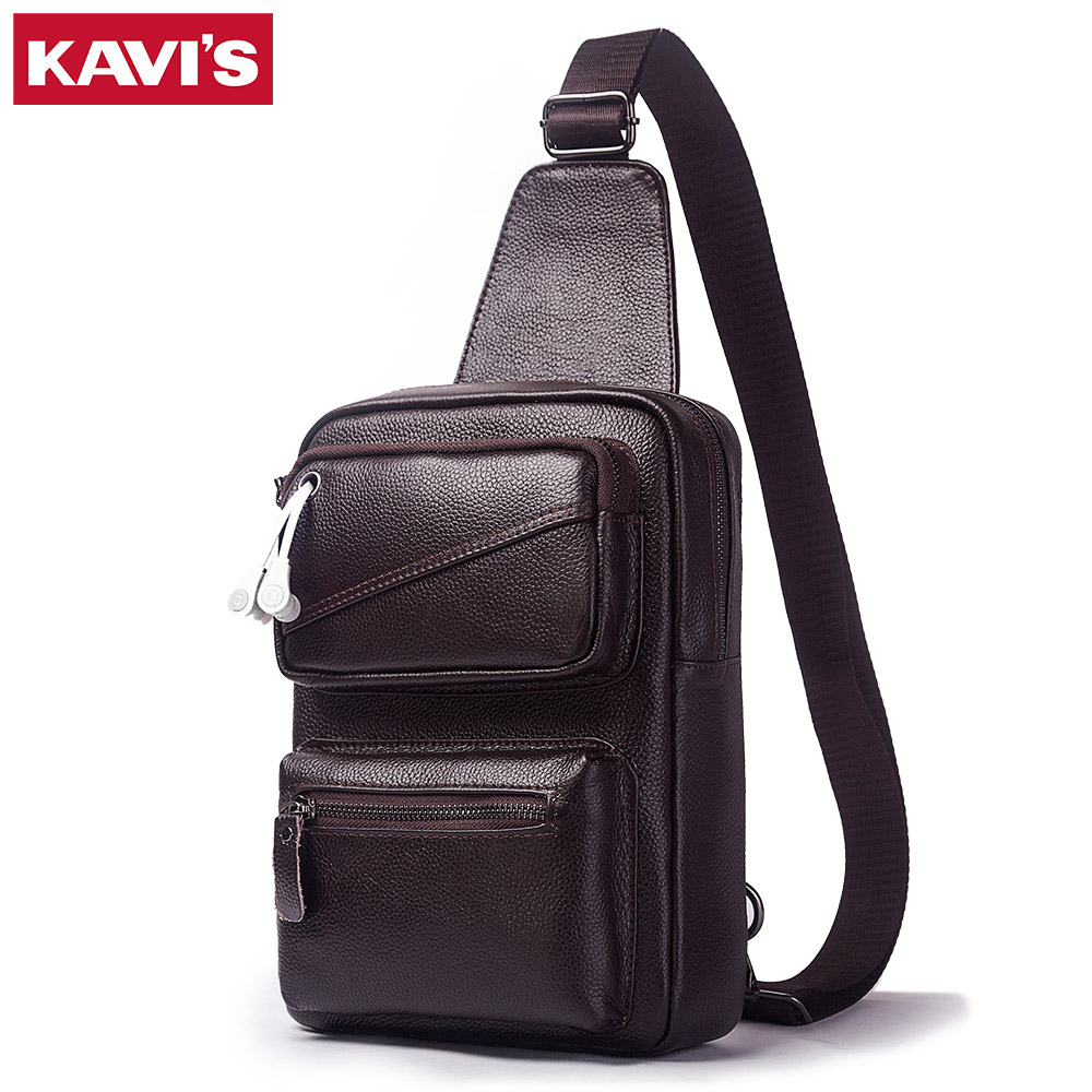 KAVIS Men's Fashion Crossbody Bag Genuine Leather Chest Bags High Quality Men Shoulder Bags Chest Waist Pack Arrival Sling Pack