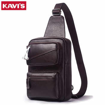 KAVIS Men's Fashion Crossbody Bag Genuine Leather Chest Bags High Quality Men Shoulder Bags Chest Waist Pack Arrival Sling Pack - DISCOUNT ITEM  43% OFF All Category