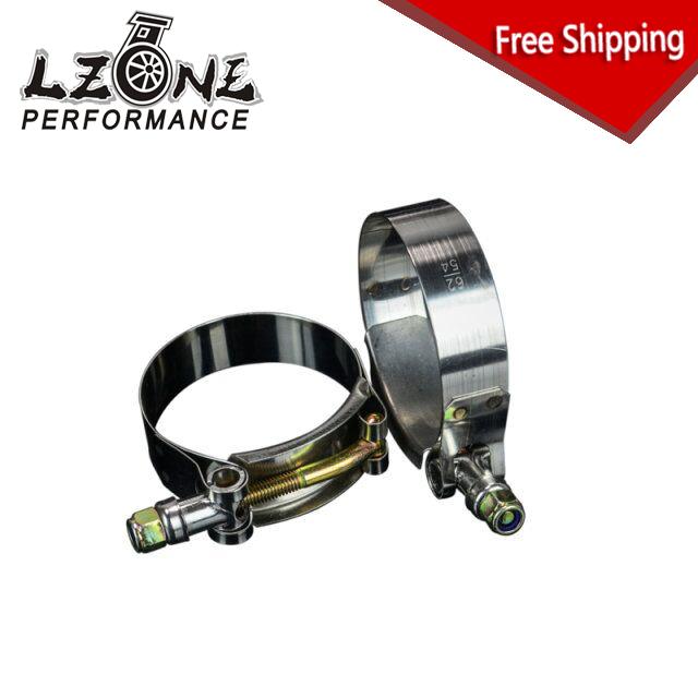 LZONE RACING - FREE SHIPPING (2PC/LOT) SS304 CLAMPS 2 INCH (54-62)STAINLESS SILICONE TURBO HOSE COUPLER T BOLT CLAMP KIT JR5250