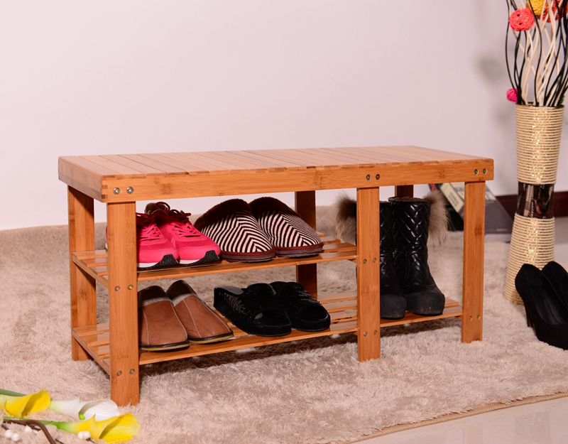 US Shoe Cabinet 90cm Strip Pattern Tiers Bamboo Stool Shoe Rack With Boots Compartment Wood Color Stool Bench Dropshipping