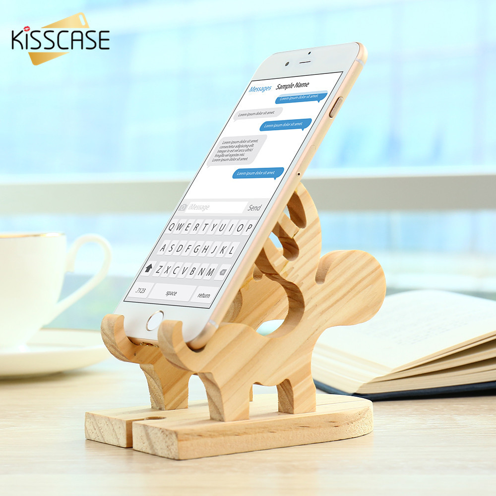 KISSCASE Wood Holder 100% Natural Wooden Cute Phone Tablet Desk Stand Holder Charging Dock For iPhone iPad Samsung Lovely Stand