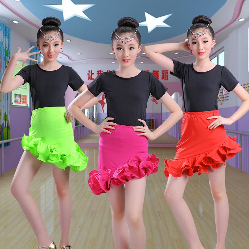 New 2017 Girls Latin Dance Skirt Practice Kids Child Red Standard Ballroom/Tango/Rumba/Samba/ Salsa Latin Ruffle Skirt