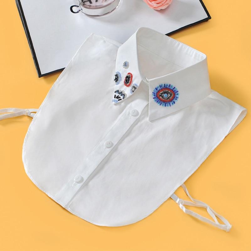 Beading White Women Shirt False Collars Black 2019 Removable Collars For Women Fake Collar Women Detachable Collars Sahte Yaka