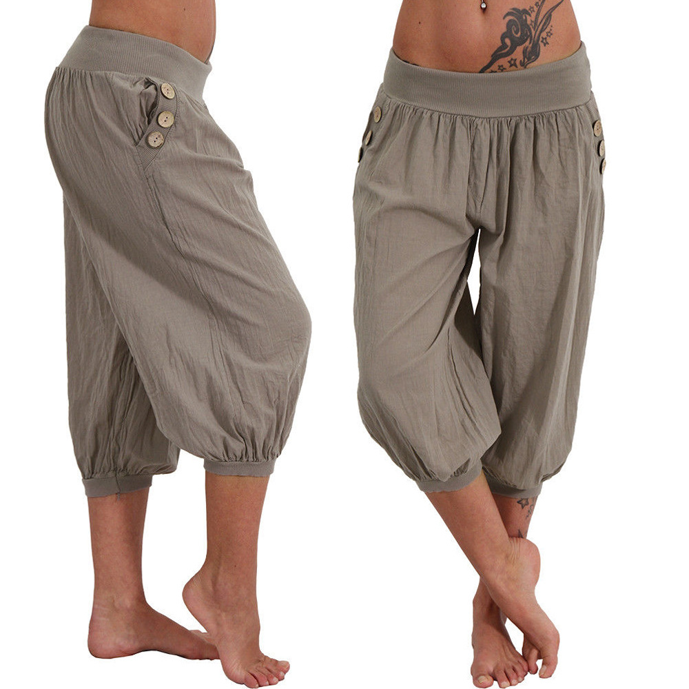 7e4e5844cde Women s Aladdin Cotton Linen Pants Plus Size 5XL Casual Calf-Length Harem  Pants Elastic Waist Summer Sporting Loose trousers New