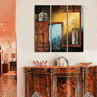 Modern Oil Painting Handpainted Large Handpainted 3 Panels Door And Windows Wall Art Wall Pictures For