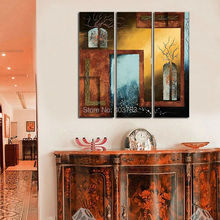 modern Oil Painting handpainted Large Handpainted 3 panels  door and windows Wall Art Pictures For Living Room Home Decor