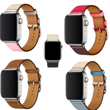 YIFALIAN Black Brown Genuine Leather Single Tour Bracelet Watch Strap For Iwatch Apple Band 38mm 42mm