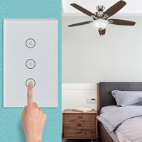 Wifi Switch US Plug Home Smart Ceiling Fan Switch APP Remote Timer Compatible With Alexa And Google Home Touch Panel Switch