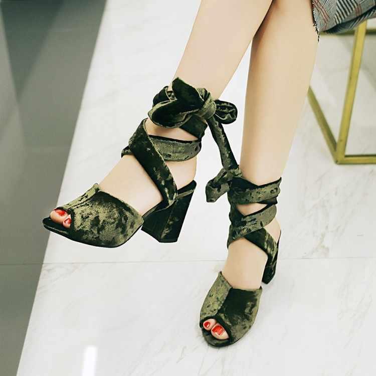 Tamanho grande 11 12 13 14 15 sandálias de salto alto sapatos femininos mulher verão senhoras a boca do peixe laço bowknot grosso com sandálias