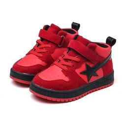 Весенне-осенняя модная черная повседневная спортивная обувь с пятиконечной звездой для мальчиков, Красная Спортивная обувь, бархатная