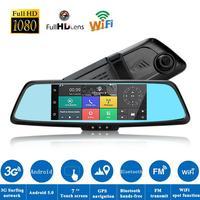 7 calowy Car DVR Full HD 1080 P z Dwoma Obiektywami Kamera IPS Bluetooth 3G Android Z Wifi GPS Lusterko wsteczne Dotykowy Car Video Recorder