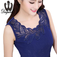 Summer Women Tank Tops Plus Size Clothing Fashion Sleeveless Diamond Lace Shirt Patchwork Tops Blusas Femininas