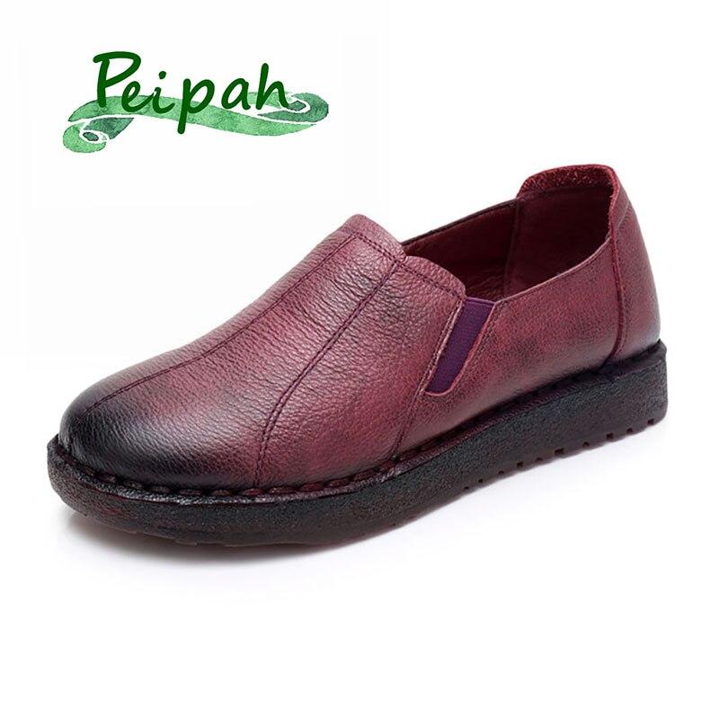 PEIPAH printemps fait à la main femmes appartements Oxfords chaussures en cuir de vache Tenis Feminino décontracté sans lacet chaussures femme Vintage femme baskets
