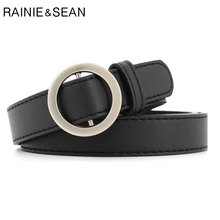 RAINIE SEAN Female Belt Circle Smooth Buckle Black Leather Belts For Jeans Solid Casual Thin Waist Women