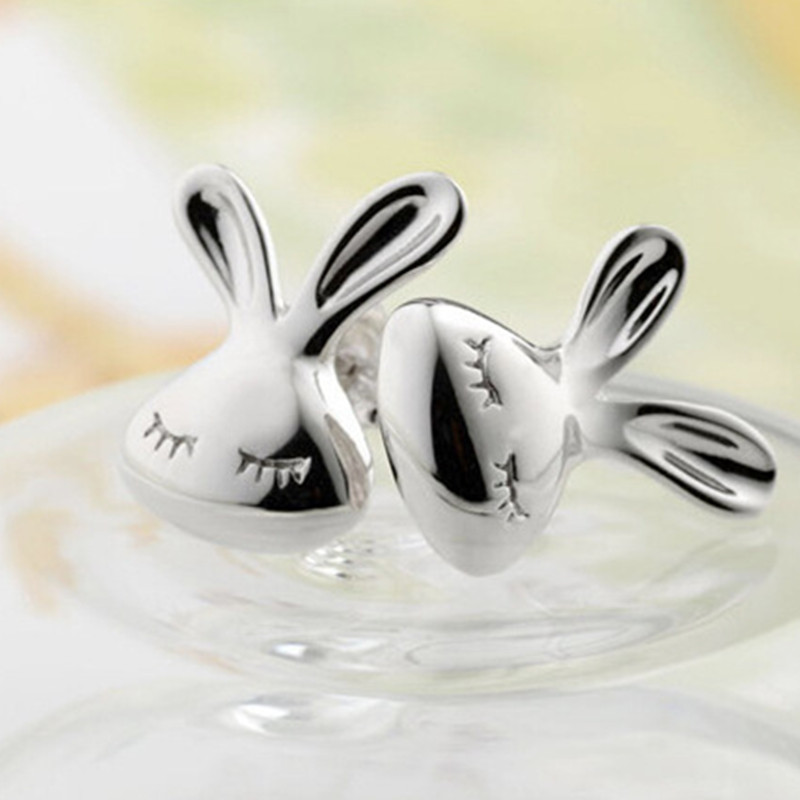 Cute Rabbit Stud Earrings For Women Silver Color Ear Jewelry Lovely Animal Bunny Stud Earrings Birthday Gift Wholesale 4ED253(China)