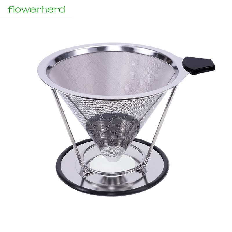 Maille en métal réutilisable de filtre de café d'acier inoxydable versent au-dessus du goutteur de cône de café avec la tasse v60 de filtre de thé de support de tasse