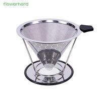 Maille en métal réutilisable de filtre de café d'acier inoxydable versent au dessus du goutteur de cône de café avec la tasse v60 de filtre de thé de support de tasse|Café Filtres| |  -